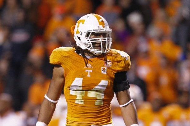 German linebacker Jakob Johnson playing for the University of Tennessee.