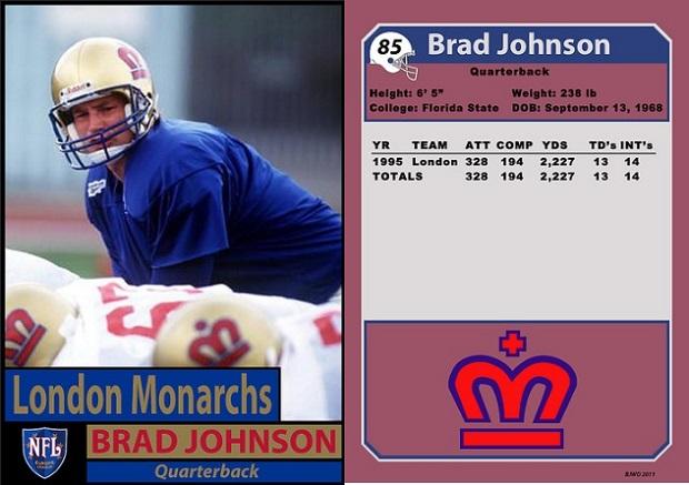 Brad Johnson com o London Monarchs em 1995 (Willie O'Burke/Bill Jones).