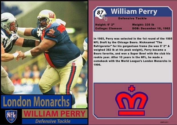 """William """"Refrigerator"""" Perry com o London Monarchs em 1996 (Willie O'Burke/Bill Jones)."""