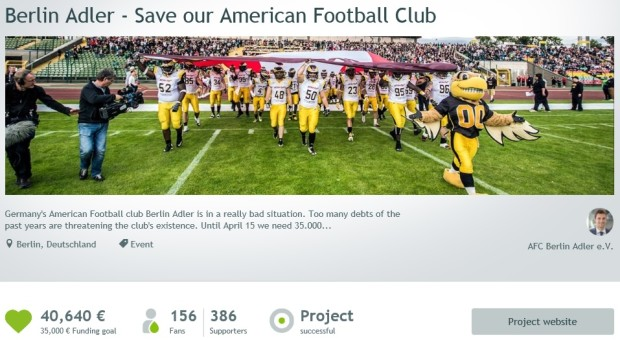 Crowdfunding in American Football Berlin Adler Startnext Campaign