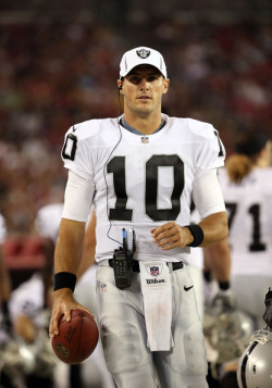 Newhall-Caballero on the sidelines during the Raiders' preseason game against the Arizona Cardinals in 2012.