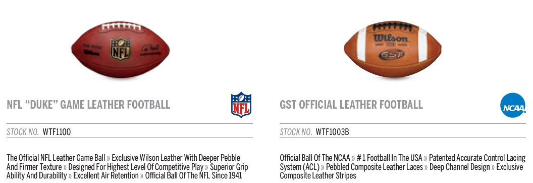 "The Wilson ""Duke"" and ""GST Leather"" footballs, Wilson's most popular items."