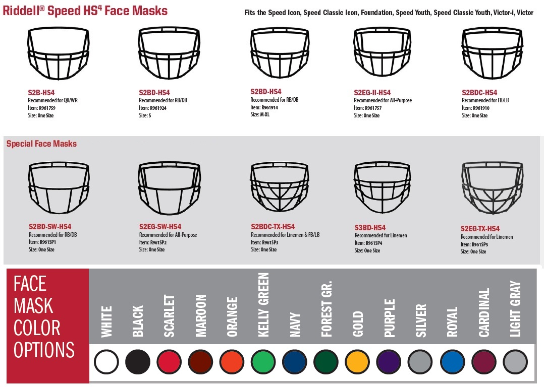 Riddell Speed HS4 Face Masks 1