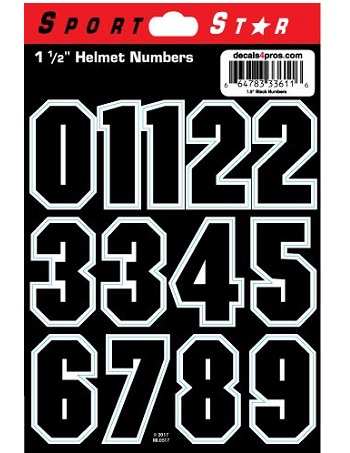 SportStar Block Number Helmet Decals Black