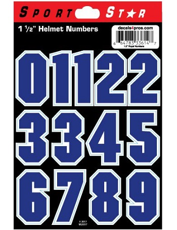 SportStar Block Number Helmet Decals Blue