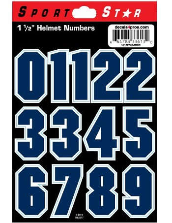 SportStar Block Number Helmet Decals Navy