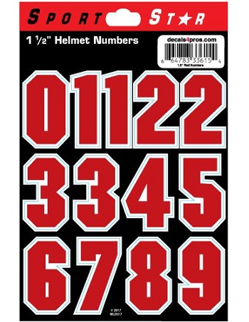 SportStar Block Number Helmet Decals Red