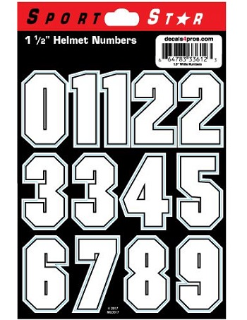 SportStar Block Number Helmet Decals White